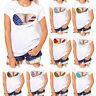 Fashion Women Summer Plus Size Print Short Sleeve Cotton Loose TShirt Top Blouse