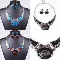Bohemian Silver Plated Glaze Stripe Choker Collar Statement Bib Necklace Pendant