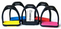 AMIDALE POLYMER STIRRUPS HORSE RDING STIRRUPS BLACK WITH COLORED TREADS 2 SIZES