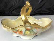 Antique D&C Limoges France Porcelain Bon Basket Candy Dish Painting Fruit Leaf