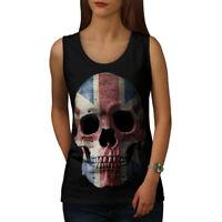 Wellcoda British Flag Skull Womens Tank Top, Faded Athletic Sports Shirt
