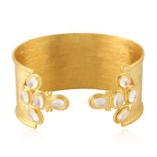 18kt Yellow Gold Cuff Bangle 8.64ct Rainbow Moonstone Indian Ethnic Look Jewelry