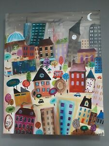 ORIGINAL ARTWORK CITY HOUSES TAXI BUS ABSTRACT ACRYLIC CANVAS PAINTING SIGNED