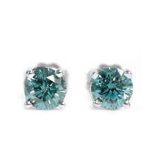Diamant Ohrstecker 0.18 Karat blau in 585 Weißgold  - VS Qualität - Zertifiziert