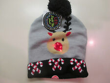 RUDOLPH LED LIGHT UP NOSE HAT W/CANDY CANES X-MAS WINTER BEANIE W/BLUE POM-POM