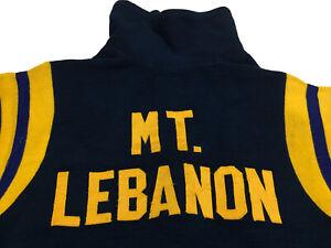 Rare 1940s Rugby L/S Stripe Shirt Mt. Lebanon Men's Large Regular *WILLSE zipper