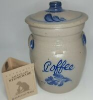 Vintage 1994 ROWE POTTERY WORKS Salt Glazed coffee Cookie Jar Crock NEW
