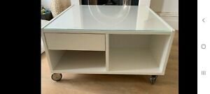 Ikea White Coffee Table, with shelves, drawer and wheels - well used