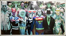JUSTICE VILLAINS PRINT Alex Ross art JLA Bizarro Joker Grundy Cheetah Ivy 19x36