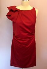 MONSOON RED PLEATED TRIM PENCIL DRESS SIZE 10