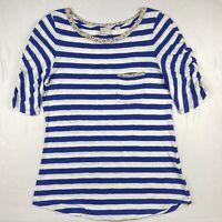 Anthropologie 9-H15 STCL Blue Stripes Animal Print Trim T-Shirt Size L Large