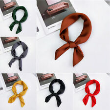 Solid Women Vintage Square Silk Feel Satin Scarf Skinny Head Neck Hair Tie Band