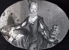 Jeune femme au chien gravure Bernard Picart 1705 miniature XVIIIe siècle