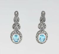 9927679 925er Silber Blautopas-Markasit-Ohrringe L2,8cm Vimtage