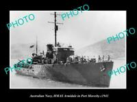 OLD POSTCARD SIZE PHOTO OF AUSTRALIAN NAVY HMAS ARMIDALE AT PORT MORESBY c1941