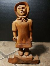 Carved Wood Woman Figure Wearing A Dress Coat Hood Bonnet 7.5""