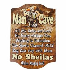 MAN CAVE RULES NO SHEILA'S Wooden WALL SIGN - Shed Bar Garage Gift