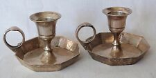 Vintage Silver Plated Set of Two Candle Stick Holder Portable Hand held table