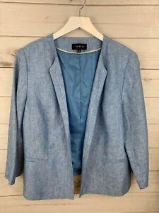 Talbots Woman's  Blazer 100% Linen Jacket Open Front 3/4 Sleeve Light Blue Sz 16
