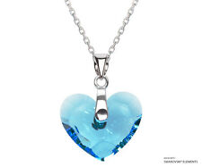 Aquamarine Heart Pendant Necklace SWAROVSKI ELEMENTS Crystals, Sterling Silver