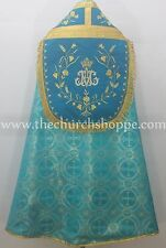 Metallic Marian Blue Cope & Stole Set with AM embroidery,capa pluvial,far fronte