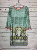 Uncle Frank Anthropologie Women's S Small Aqua 3/4 Sleeves Spring Summer Dress