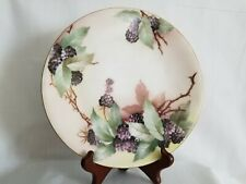 Limoges France Black Berry Print Plate 8.5""