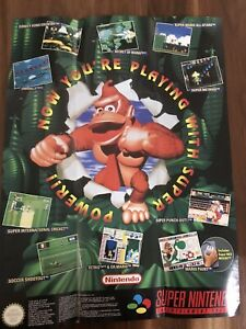 SNES Large Donkey Kong Super Nintendo Console Promo Poster AUS PAL Original Rare