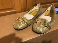 """NEW Michael Kors """"Fulton"""" Leather Slip on gold glitter, 8M, Ballet flat, Mk logo"""