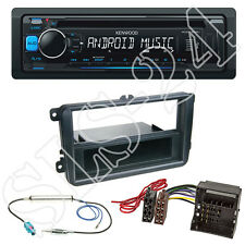 KENWOOD CD RADIO USB Blu Set + SKODA ROOMSTER FABIA DIN Mascherina + Adattatore ISO