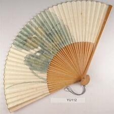 YU112 SENSU Washi Flower Japanese Fan Painting Nihonga Picture Geijyutu crafts