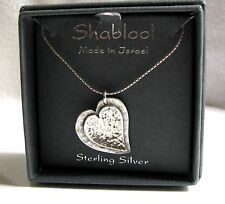 Shablool Didae .925 Sterling Silver Hammered Heart Necklace ~ NIB