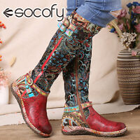 SOCOFY Womens Graceful Mid-calf Boots Leather Casual Splicing Print Shoes Flats