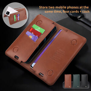 Luxury Magentic Leather Flip Wallet Flip Case Long Pouch Handbag 2 Phones Holder