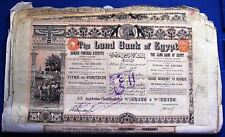Land Bank of Egypt 25 shares Warrant to Bearer, 1905 w/ Uk revenue tax stamps