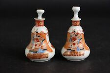 Pear shaped antique porcelain japanese vases. Meiji period, unusual small.