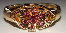 Beautiful Signed Coro Pegasus Pink Rhinestone Flower Gold tone stretch bracelet