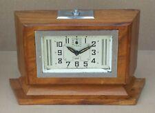 """Ancien réveil à clé JAZ """"OBLIC"""" ART DÉCO BOIS BUILDING vintage old alarm clock"""
