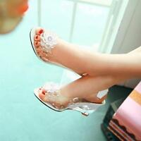 Chic Ladies Flower Wedge High Heels Sandals Slingback Shoes Transparent New Size