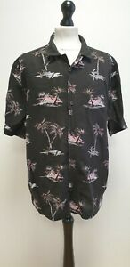 MENS H&M BLACK MIX PALM TREE THEME SHORT SLEEVED HAWAIIAN SHIRT UK L EU L