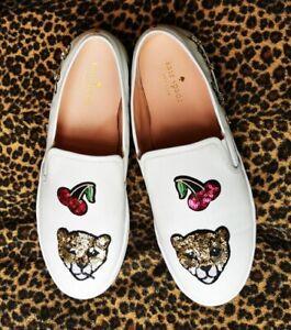Kate Spade New York Lizbeth Meow White Leather Sneakers Size USA 9.5 UK 7/7.5