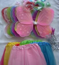 4 Pc Girl Kids Fairy Butterfly Wings Wand Headband Tutu Skirt Party 13 colour