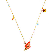 Collar Dorado Esmalte Rojo Rosa Loro Mariquita Fino Flor Hoja Retro L5