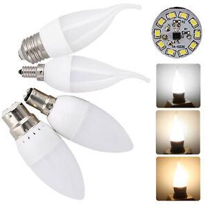 3W LED Candle Light Bulbs Dimmable E27 E14 B22 B15 2835 SMD 220V White Lamps RC