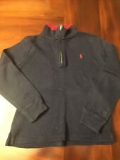 Ralph Lauren Boys Zipper Sweater Pullover Color Navy Red SIZE 6 GUC