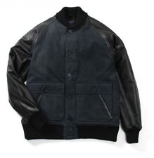 STUSSY DELUXE X MAIDEN NOIR Black Cotton/Nylon Leather Stadium Varsity Jacket S
