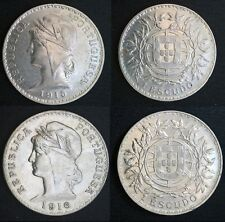PORTUGAL - 2 coins of 1 Escudo - 1915 and 1916 - (Silver=50 g) - UNC