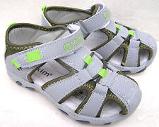 Boys Leather Lined Cap Toes Black Grey Walk Sandals Holiday Shoes Sizes 9 13 1 2 UK 1.5 Junior/ EU 35 Black/red