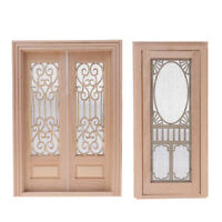 2 Set 1/12 Dollhouse Miniature Wood External Hollow Screen Door Unpainted