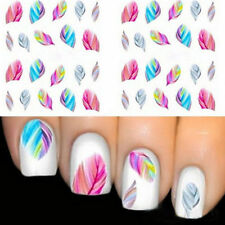 2 Pcs Rainbow Colorful Feather Nail Art Sticker DIY Water Transfer Stickers LH